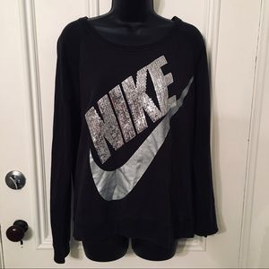 Nike Silver Sequin Logo Crewneck Sweater Large
